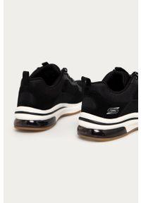 Czarne sneakersy skechers z cholewką, z okrągłym noskiem, na obcasie