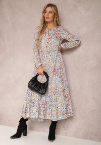 Renee - Niebiesko-Czerwona Sukienka Thespesis. Kolor: niebieski. Długość rękawa: długi rękaw. Wzór: kwiaty. Długość: maxi