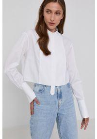 Victoria Victoria Beckham - Koszula bawełniana. Okazja: na co dzień. Typ kołnierza: kołnierzyk stójkowy. Kolor: biały. Materiał: bawełna. Długość rękawa: długi rękaw. Długość: długie. Wzór: gładki. Styl: casual