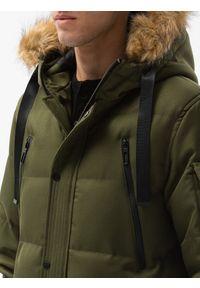 Ombre Clothing - Kurtka męska zimowa C514 - oliwkowa - XXL. Kolor: oliwkowy. Materiał: poliester. Sezon: zima