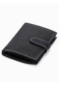 Ombre Clothing - Portfel męski skórzany A345 - czarny - uniwersalny. Kolor: czarny. Materiał: skóra