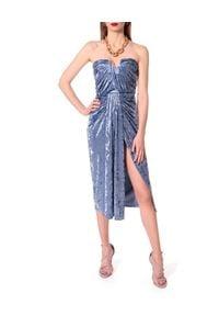 AGGI - Niebieska sukienka Bella. Kolor: niebieski. Materiał: jedwab, wiskoza. Typ sukienki: z odkrytymi ramionami. Styl: wizytowy. Długość: midi