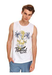 Biały t-shirt TOP SECRET z nadrukiem, bez rękawów