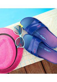 LANO - Klapki damskie basenowe Lano KL-3-2246-10 Niebieskie. Okazja: na plażę. Kolor: niebieski. Materiał: guma. Obcas: na obcasie. Wysokość obcasa: niski