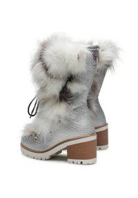 Srebrne buty trekkingowe New Italia Shoes z cholewką