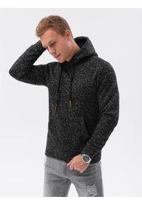 Ombre Clothing - Bluza męska z kapturem B1094 - czarna - XXL. Typ kołnierza: kaptur. Kolor: czarny. Materiał: materiał, poliester. Wzór: ze splotem. Styl: elegancki