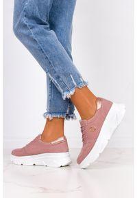 Filippo - Różowe sneakersy filippo ażurowe buty sportowe skórzane na platformie sznurowane dp2138/21be. Kolor: różowy. Materiał: skóra. Wzór: ażurowy. Obcas: na platformie