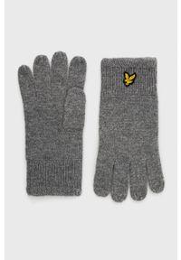 Lyle & Scott - Rękawiczki. Kolor: szary. Materiał: dzianina. Wzór: gładki