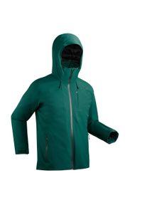 WEDZE - Kurtka narciarska męska Wedze 500. Kolor: zielony. Materiał: puch, skóra, materiał. Sport: narciarstwo