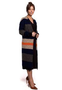 Sweter długi, z długim rękawem, w kolorowe wzory