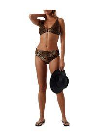 Melissa Odabash - MELISSA ODABASH - Dół od bikini w panterkę Santa Fe. Stan: podwyższony. Kolor: brązowy. Materiał: tkanina, nylon. Wzór: motyw zwierzęcy