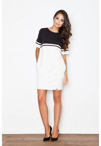 e-margeritka - Sukienka bawełniana ecru-czarny - xs. Okazja: do pracy, na co dzień. Kolor: czarny. Materiał: bawełna. Długość rękawa: krótki rękaw. Styl: casual. Długość: mini