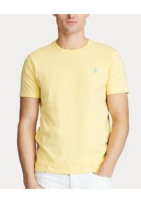 Ralph Lauren - RALPH LAUREN - Żółta koszulka Slim Fit. Okazja: na co dzień. Typ kołnierza: polo. Kolor: żółty. Materiał: bawełna, wełna. Długość: długie. Wzór: haft. Sezon: lato. Styl: klasyczny, casual