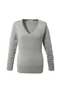Szary sweter bonprix melanż, na co dzień, casualowy, z dekoltem w serek