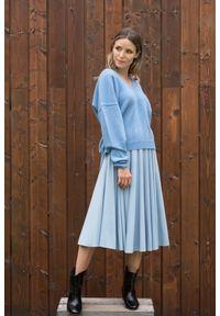 Niebieska spódnica VEVA na jesień, krótka, melanż