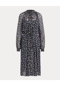 Ralph Lauren - RALPH LAUREN - Granatowa sukienka. Typ kołnierza: polo. Kolor: niebieski. Materiał: wiskoza, materiał. Długość rękawa: długi rękaw. Wzór: nadruk, kwiaty. Styl: elegancki