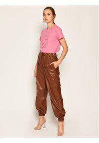 Różowy t-shirt Karl Lagerfeld z dekoltem karo