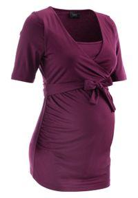Shirt dla ciężarnych i karmiących bonprix jeżynowy. Kolekcja: moda ciążowa. Kolor: fioletowy