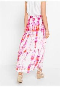 Spódnica maxi z batikowym nadrukiem bonprix biel wełny - różowo-pomarańczowy z nadrukiem. Kolor: biały. Materiał: wełna. Długość: długie. Wzór: nadruk #3