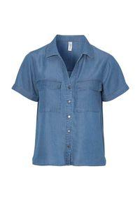 Soyaconcept Koszula z lyocellu Liv denim blue female niebieski M (40). Kolor: niebieski. Materiał: denim. Długość rękawa: krótki rękaw. Długość: krótkie