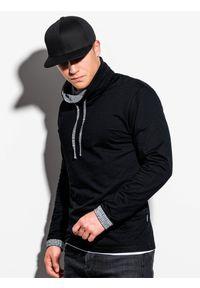 Czarna bluza Ombre Clothing w kratkę, ze stójką