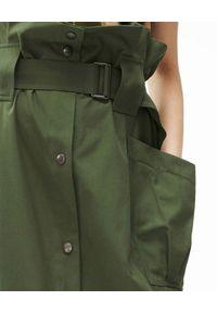 Kenzo - KENZO - Spódnica midi w kolorze khaki. Stan: podwyższony. Kolor: zielony. Materiał: materiał