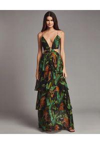 RETROFETE - Sukienka z egzotycznym wzorem Paulina. Kolor: zielony. Długość rękawa: na ramiączkach. Styl: wakacyjny. Długość: maxi
