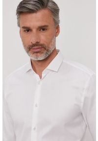 Biała koszula Hugo z klasycznym kołnierzykiem, długa