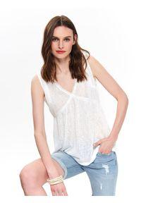 Biały t-shirt TOP SECRET z dekoltem w serek, melanż, z krótkim rękawem, casualowy
