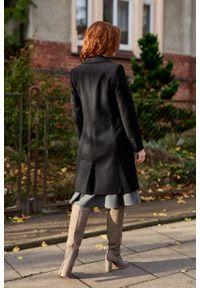 Marie Zélie - Płaszcz wełniany Debora czarny. Kolor: czarny. Materiał: wełna. Wzór: motyw zwierzęcy, ze splotem. Sezon: zima. Styl: klasyczny #7