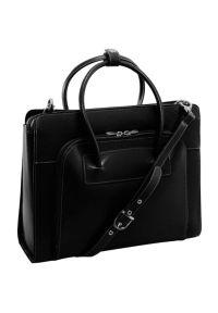 Czarna torba na laptopa MCKLEIN w kolorowe wzory, elegancka