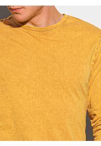 Ombre Clothing - Longsleeve męski bez nadruku L131 - musztardowy - XXL. Kolor: żółty. Materiał: bawełna. Długość rękawa: długi rękaw #5