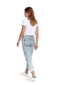 Biały t-shirt TOP SECRET z krótkim rękawem, w kwiaty, krótki