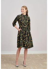 Marie Zélie - Sukienka Aglaia Folium. Typ kołnierza: kołnierzyk stójkowy. Materiał: materiał, wiskoza, bawełna, elastan