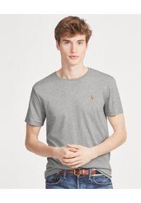 Ralph Lauren - RALPH LAUREN - Szary t-shirt Custom Slim. Typ kołnierza: polo. Kolor: szary. Materiał: bawełna, jeans. Wzór: haft, kolorowy