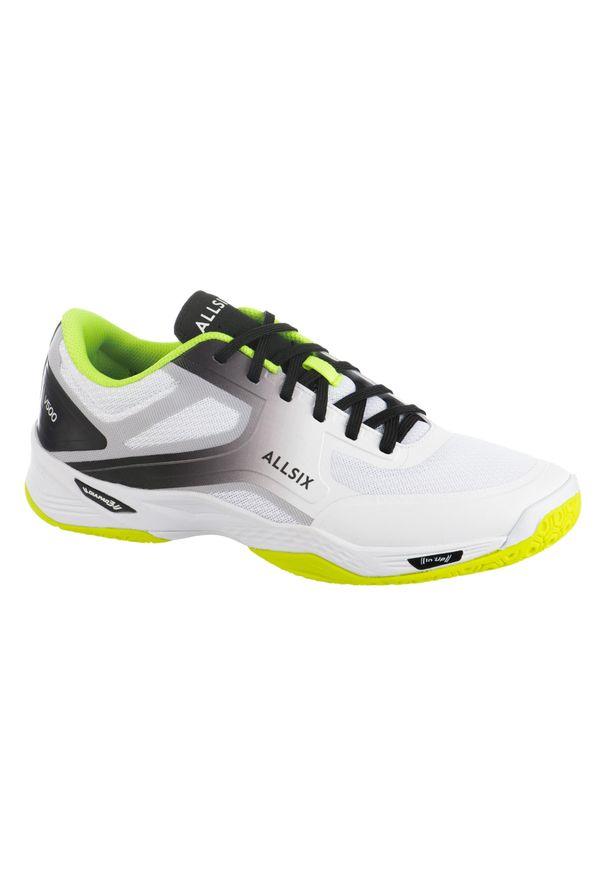 ALLSIX - Buty do siatkówki męskie Allsix V500. Kolor: biały, żółty, wielokolorowy, szary. Materiał: kauczuk, materiał. Sport: siatkówka