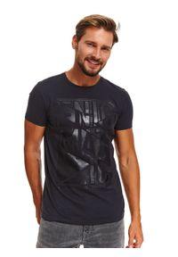 Niebieski t-shirt TOP SECRET krótki, z krótkim rękawem, z nadrukiem