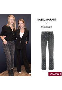 ISABEL MARANT - Jeansy z kryształami Swarovskiego. Stan: podwyższony. Kolor: szary. Styl: elegancki