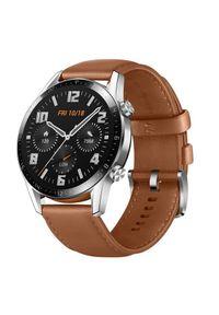 HUAWEI - Smartwatch Huawei Watch GT 2 46mm Classic srebrny. Rodzaj zegarka: smartwatch. Kolor: srebrny. Materiał: skóra, kauczuk, syntetyk. Styl: wakacyjny, sportowy, klasyczny, elegancki