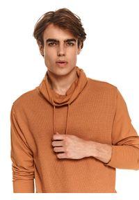 TOP SECRET - T-shirt długi rękaw z luźnym golfem. Typ kołnierza: golf. Kolor: brązowy. Długość rękawa: długi rękaw. Długość: długie