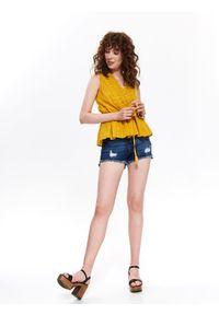 Żółta bluzka TOP SECRET z krótkim rękawem, na wiosnę, z dekoltem w serek