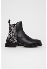 Love Moschino - Botki. Nosek buta: okrągły. Kolor: czarny. Materiał: guma. Obcas: na obcasie. Wysokość obcasa: niski