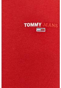 Brązowa koszulka z długim rękawem Tommy Jeans casualowa, z aplikacjami, na co dzień