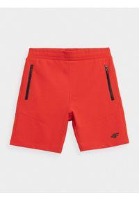 4f - Spodenki dresowe chłopięce. Okazja: na co dzień. Kolor: czerwony. Materiał: dresówka. Styl: casual