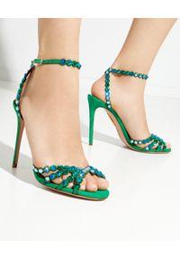 AQUAZZURA - Zielone sandały na szpilce Tequila. Zapięcie: pasek. Kolor: zielony. Wzór: paski, aplikacja. Obcas: na szpilce. Styl: elegancki. Wysokość obcasa: średni