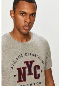 Szary t-shirt PRODUKT by Jack & Jones casualowy, z aplikacjami, na co dzień