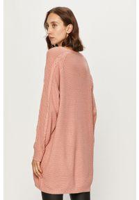 Różowy sweter Roxy casualowy, na co dzień, z długim rękawem, długi