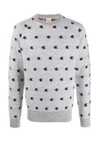 Champion - CHAMPION - Szary sweter z logo. Kolor: szary. Materiał: akryl, jeans, wełna, wiskoza. Długość rękawa: długi rękaw. Długość: długie. Sezon: jesień. Styl: elegancki