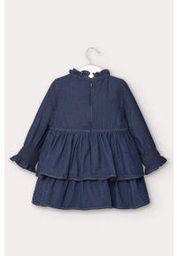 Niebieska sukienka Mayoral mini, rozkloszowana, z długim rękawem, z aplikacjami