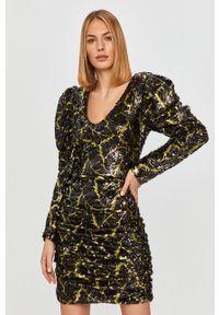 Czarna sukienka Silvian Heach z długim rękawem, klasyczna, mini, dopasowana